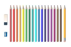 Set of colored realistic pencils with sharpener and eraser isolated on white. School tools, Colored pencils vector stock illustration