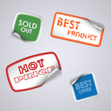 Set of colored rectangle stickers. Vector eps 10 Royalty Free Stock Images