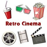 Set of colored Retro Cinema icons. Set of colored vector Retro Cinema icons with a soda in a takeaway mug  3d glasses  popcorn  reel of 35mm film  film strip and Stock Photo