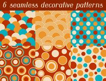 Set of colored retro circle seamless pattern.  Royalty Free Stock Photos