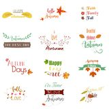 Set of colored retro vintage logos, icons, stickers with the text of the autumn and floral. Vector can be edited for you royalty free illustration