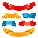 Set of colored ribbons and banners. Collection for decoration Stock Image