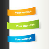 Set of colored ribbons on paper. Royalty Free Stock Photo
