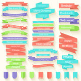 Set of colored ribbons sticker background concept. Set of colored ribbons sticker background Stock Photo