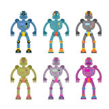 Set colored robots. Retro mechanical toys. Vintage space cyborgs Royalty Free Stock Photo