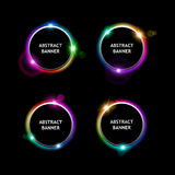 Set of colored round banners on dark background, for your design. Vector illustration Stock Photography
