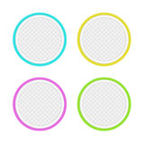 Set of colored round buttons. With small graphic pattern inside. Empty signs for copy space and your ideas Stock Photo
