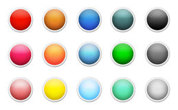 Set of colored round buttons Royalty Free Stock Photos