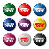 Set of colored round buttons with word `Limited Offer` Stock Image