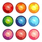 A set of colored round gems. Vector illustration isolated on white background royalty free illustration