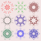 Set of colored round ornaments Stock Images