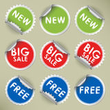 Set of colored round stickers Stock Photos