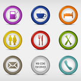 Set of colored round web icons for service. Vector eps 10 Royalty Free Stock Photo