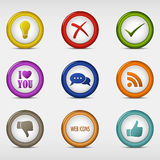 Set of colored round web icons template Royalty Free Stock Photography