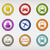 Set of colored round web icons for transport Royalty Free Stock Photo
