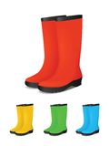Set of colored safety rubber boots Stock Photo