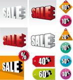 Set of colored sale labels Stock Images