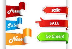 Set of colored sale labels on paper. Stock Photos