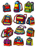 Set of colored school bags Royalty Free Stock Images