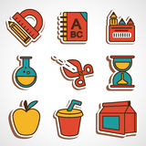 A set of colored school icons. A set of colored icons for the computer Stock Photo