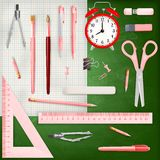 Set of Colored school supplies background. EPS 10 Stock Images