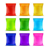 Set of Colored Sealed Plastic Foil Chips Bags Royalty Free Stock Images