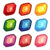 A set of colored sheet shape gems. Set of cartoon glowing colorful jewels. Different gemstones isolated on white background vector illustration