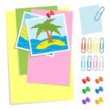 A set of colored sheets of different sizes and office pushpins and clips. Lovely cartoon style. Simple flat vector illustration is royalty free illustration
