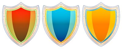 Set of colored shield, 3D rendering. Isolated on white background Royalty Free Stock Image