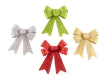 Set of colored shine ribbon bows isolated on white. Collection colored bowknot. stock photography