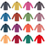 Set of colored shirts, vector illustration. Set of sixteen in a flat style color shirts isolated on white background, design element outerwear and article of Stock Images