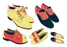 Set of colored shoes Stock Photos