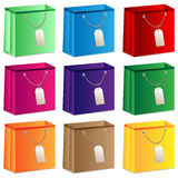 Set of colored shopping bags Stock Images