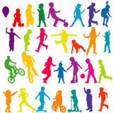 Set of colored silhouettes of active children Stock Image