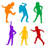 Set of colored silhouettes of children playing Stock Photo