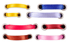 Set of colored silk ribbons on a white background Stock Image