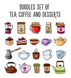 Set of colored sketches of teapots, cups, tea, coffee. Set of colored sketches of teapots, cups, tea, coffee and desserts. Stickers and pins, badges, patches vector illustration