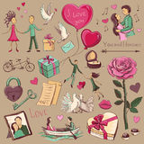 Set of colored sketches of Valentine`s Day.  Royalty Free Stock Photos
