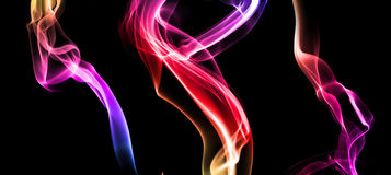 Set of colored smoke on dark Stock Photography
