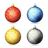 Set of colored sparkling glitter Christmas balls . Element christmas decorations. Vector illustration isolated on white background Stock Images