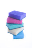 Set of colored sponges. Cleaning equipment. set of colored sponges. stack on white background Royalty Free Stock Image