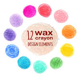 Set of colored spots wax crayon. Isolated on white background Royalty Free Stock Photography