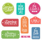 Set of colored spring stickers, labels, labels Royalty Free Stock Images