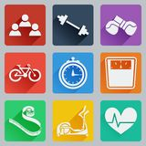 Set of colored square icons on fitness. Fashionable flat design with long shadows. Royalty Free Stock Images