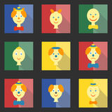 Set of colored square icons with flat heads clowns. And characters on a dark background vector illustration