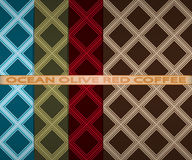 Set colored square pattern. Ocean, olive, red, coffee. Vector set colored square pattern. Ocean, olive, red, coffee Stock Photography
