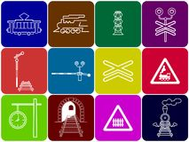 Set of 12 railway icons. Set of 12 colored square railway icons: tram, locomotive, semaphore, railway crossing, signs, station clock, tunnel stock illustration