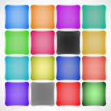 Set of colored squared buttons Stock Photos