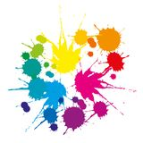 A set of colored stains. Caused by falling liquid on a white background Stock Photos