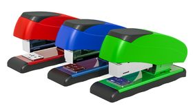 Set of colored staplers, 3D rendering vector illustration